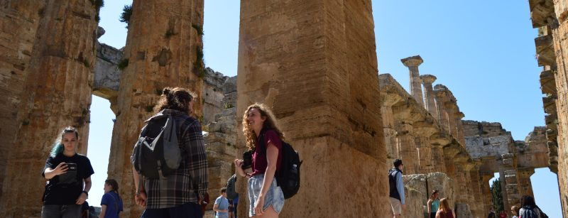 Students studying abroad visiting ruins
