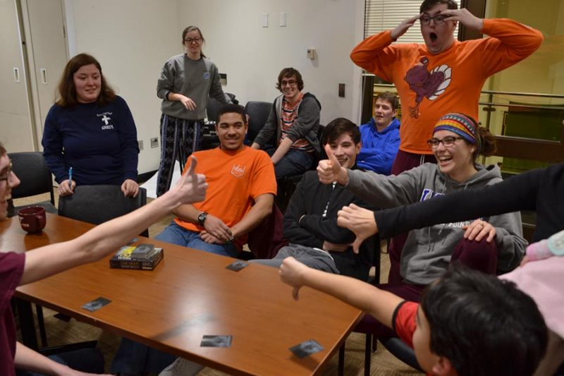 a group of HRC students playing board games